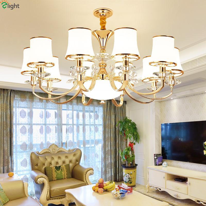 Modern Lustre Crystal Led Chandeliers Lighting Gold Metal Living