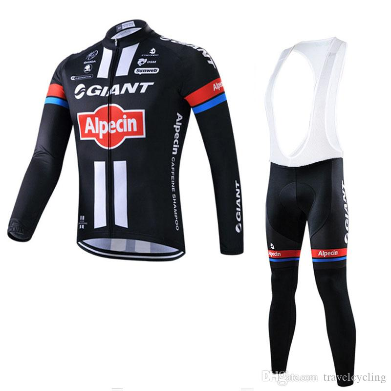 GIANT Cycling Jersey Set Outdoor Sports Racing bike Wear Long sleeve tops bib pants kits breathable quick dry bicycle clothing 111308Y