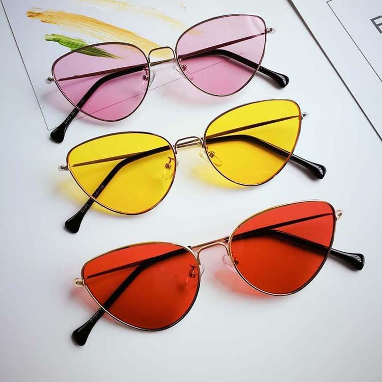 e161289f75a Retro Cat Eye Sunglasses Women Yellow Red Lens Sun Glasses Fashion Light  Weight Sunglass For Women Vintage Metal Eyewear Oversized Sunglasses Best  ...