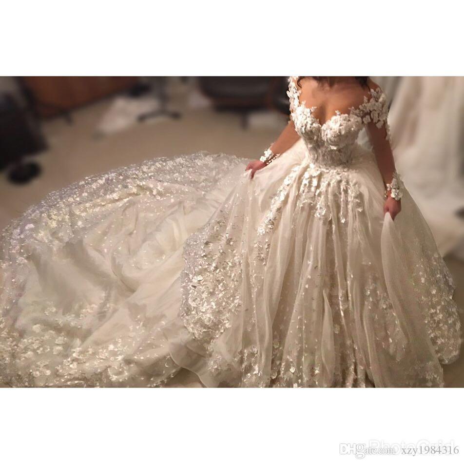Şeffaf Uzun Kollu Gelinlik Jewel Boyun See Through Çiçek Dantel Aplikler Gelin Elbise Kabarık Tül Balo Gelinlik Artı Boyutu