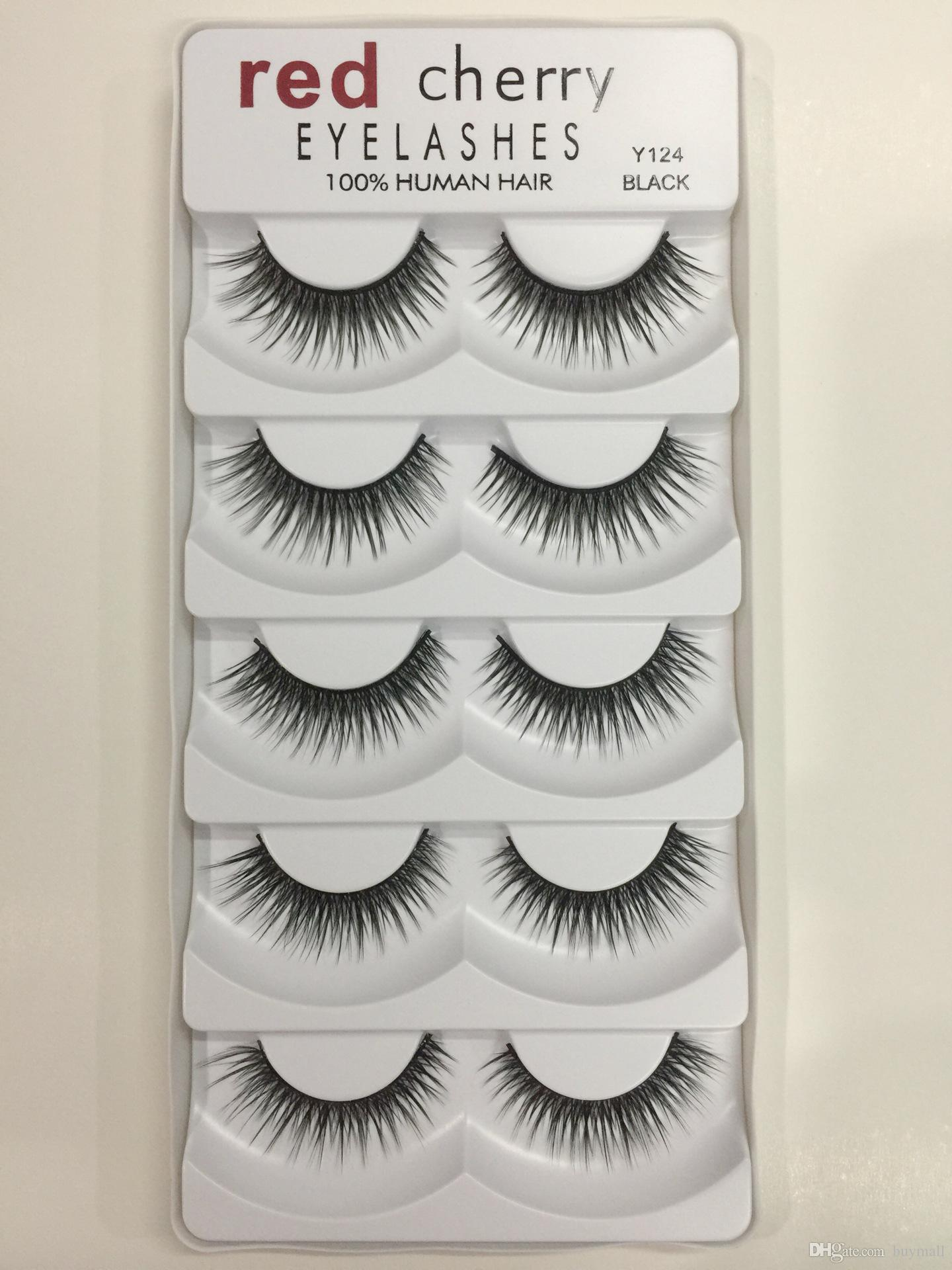 Red Cherry False Eyelashes 100% Human Hair each set Black color 8 styles available drop shipping Fake Lashes