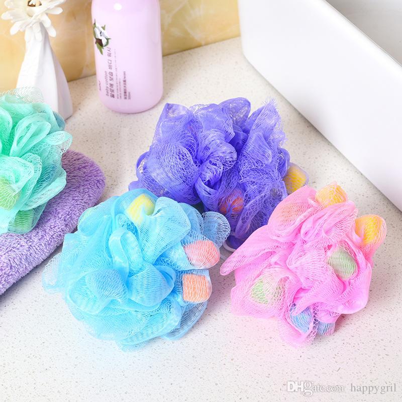 Bola de baño de nylon Baño Tinas de baño Bola de flores Fregadora de baño Verano Limpieza corporal Malla Ducha Lavado Esponja Colorido Aleatorio