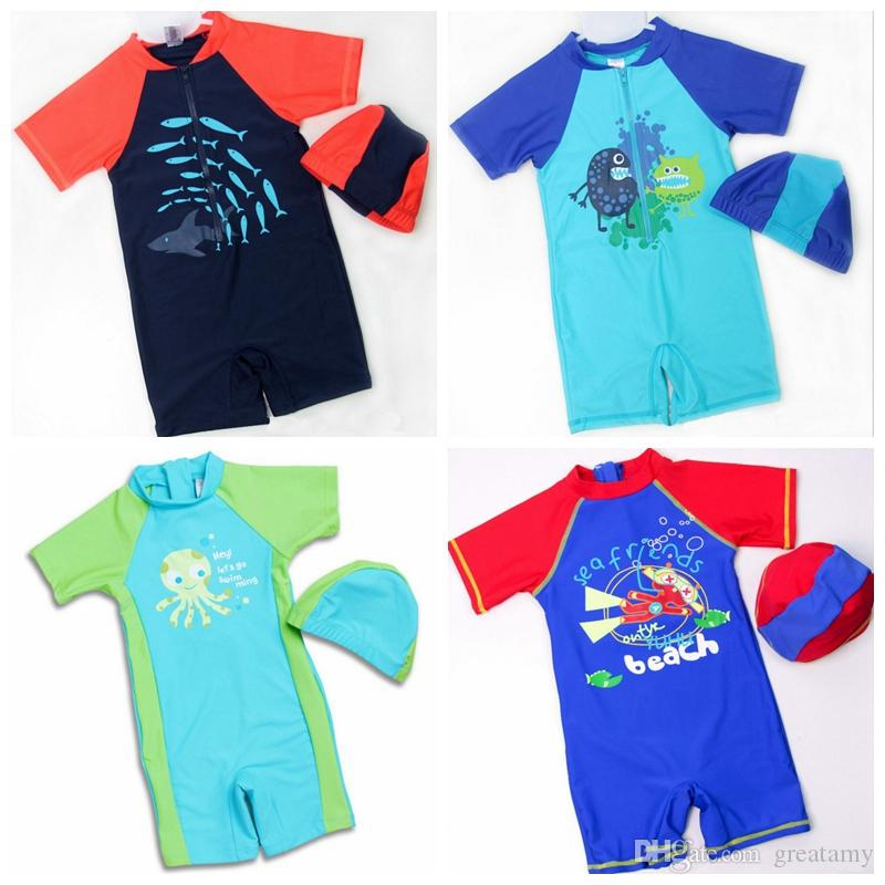 0f6cd38627 New style one-piece swimming suit kids boy's cute cartoon shark monster printed  swimsuit sun protection with swim cap 10 styles