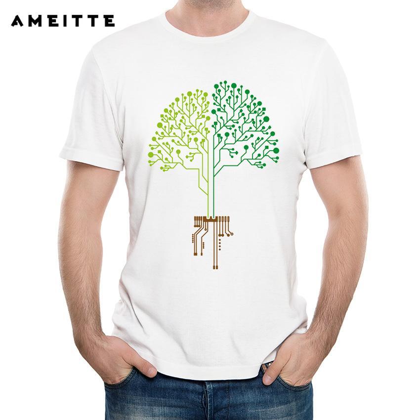 9d29cd9e 2018 Ameitte Funny Technology Tree Design T Shirt Men's Hipster White Print  Tshirt Tops Summer Male Short Sleeve Geek Tee Shirt