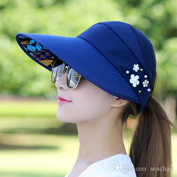 b74368db601 Golf Hat Lady Summer Travel Folding Korean Version Of The Sun Women Outdoor  Hat Anti Ultraviolet Cotton Flower Cap Girl Baseball Hat NY010 UK 2019 From  ...