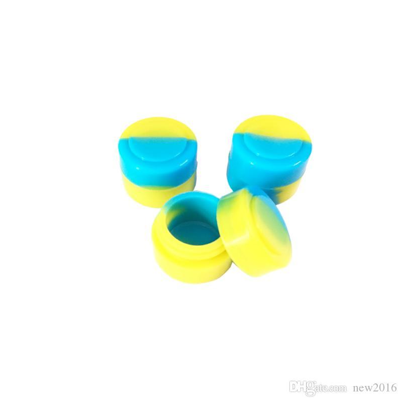 Tarro redondo de silicona de calidad alimentaria FDA 2 ml Tarro de silicona concentrado antiadherente concentrado Tarro de cera Dab Contenedor de almacenamiento de silicona