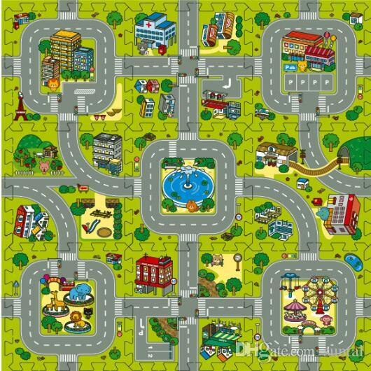Tapis de sol pour le jeu de puzzle en mousse Baby EVA, tuiles éducatives et imbriquées / Tapis de jeu pour la voie de circulation / Tapis de ville et de bâtiment