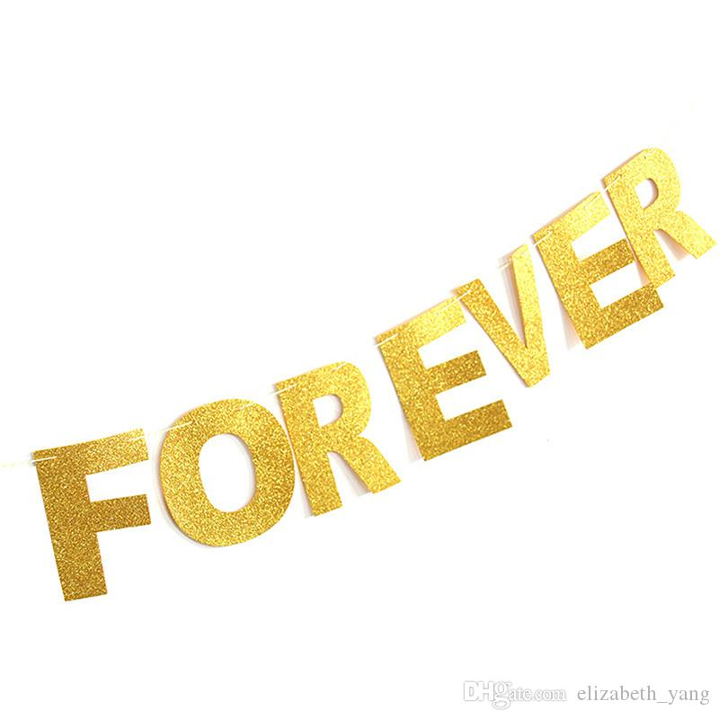 Gold Same Penis Forever Letters Banner Decoration Kit Themed Party Banner for Birthday Wedding Showers Photo Props wholesale