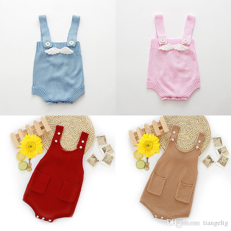 b33f0a538 2019 Knitted Baby Romper With Wings Or Pockets Suspenders Spring ...