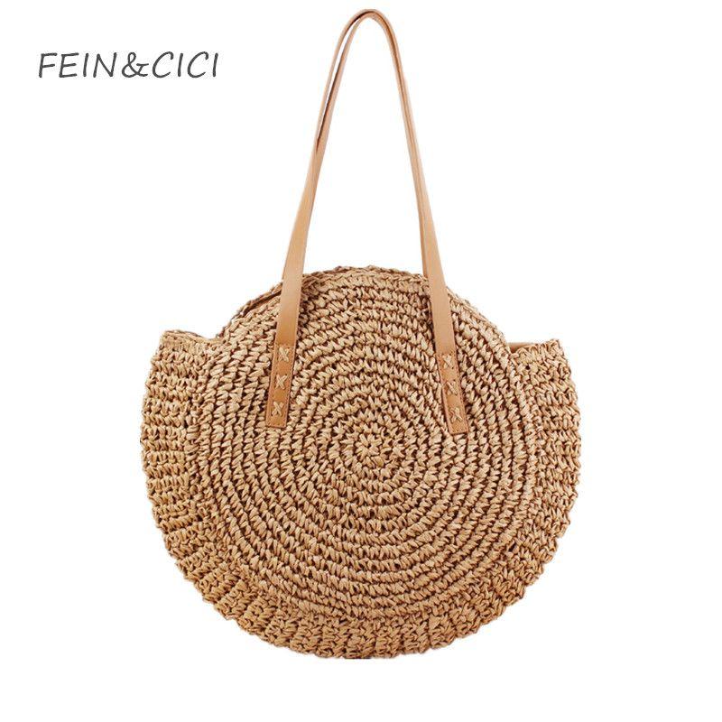 Beach Bags Round Straw Bag Women Hand Woven Big Large Knitting Handbags  Casual Circular Bag Summer 2018 New Shoulder Shoulder Bags For Women Handbag  Sale ... fe310f065abf5