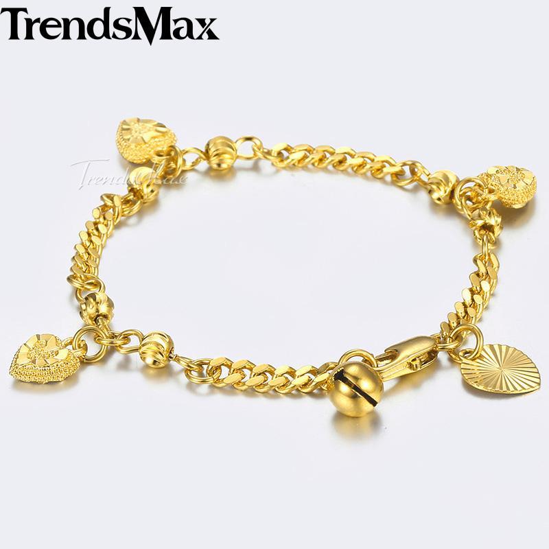 37fdfcd594d2 Pulsera para niños Oro Amarillo Curb Cuban Link Chain Bangle Heart Bell  Pulseras del encanto para la joyería del bebé regalos de los niños 3mm  KGB449