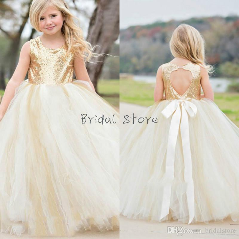 13a6e80d1eb3 Vintage Ball Gown Gold Sequins Flower Girl Dresses Open Heart Back ...