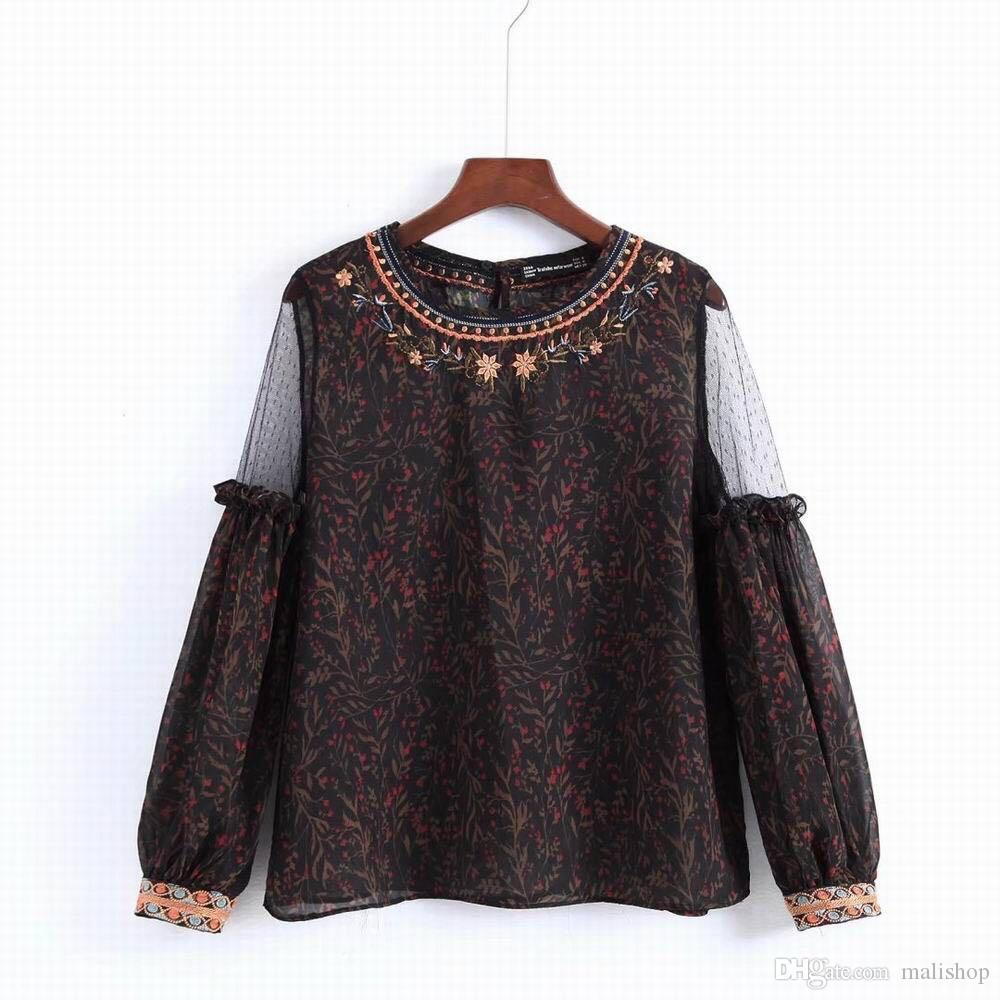122aae937ce 2019 Vintage Embroidery Floral Blouse Women Long Sleeve Sexy Transparent Blouse  Shirt 2018 Elegant Hollow Summer Blusa Feminian Top From Malishop