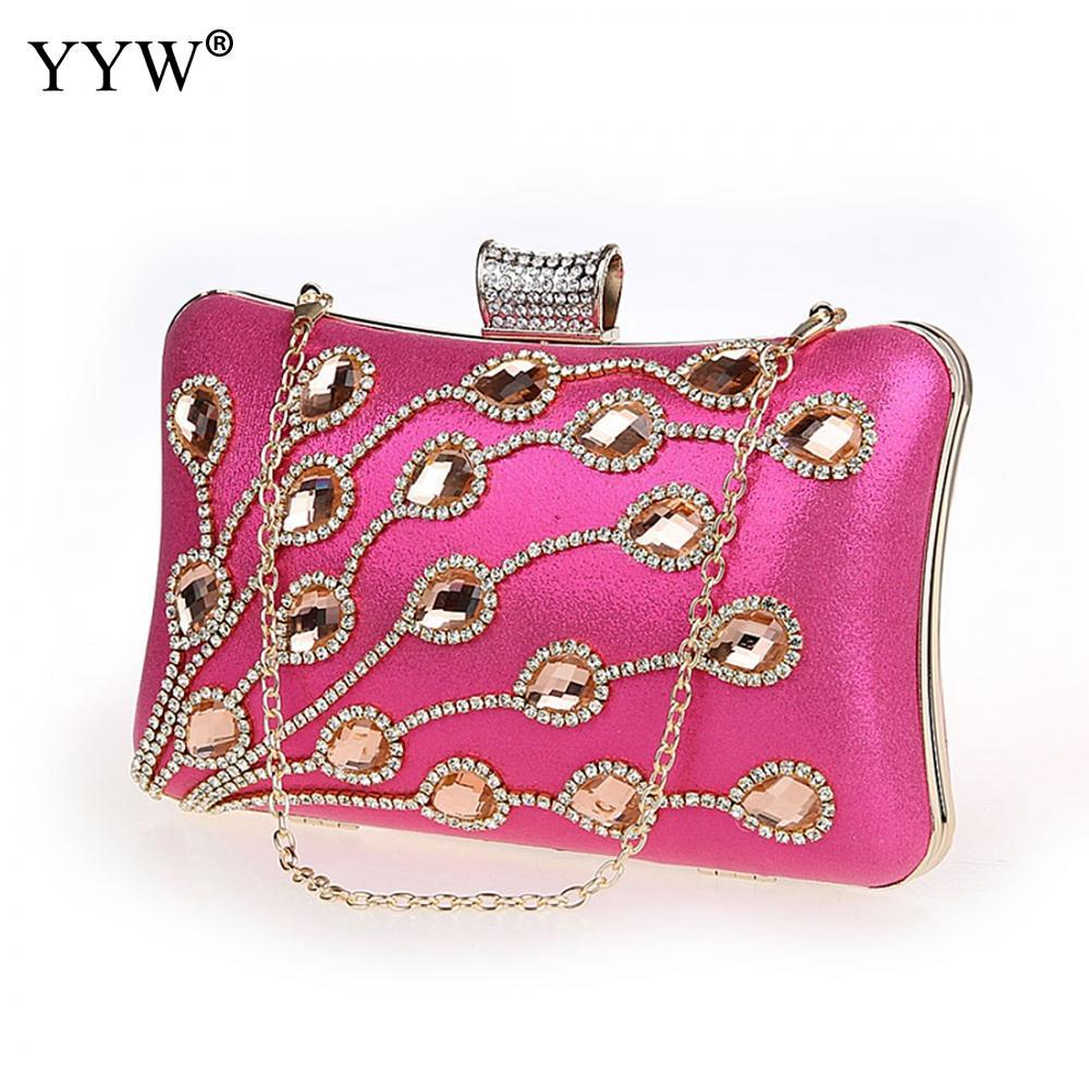 810856192cb7 Rose clutch bags for women gold evening bag with rhinestone jpg 1000x1000 Gold  clutch bags