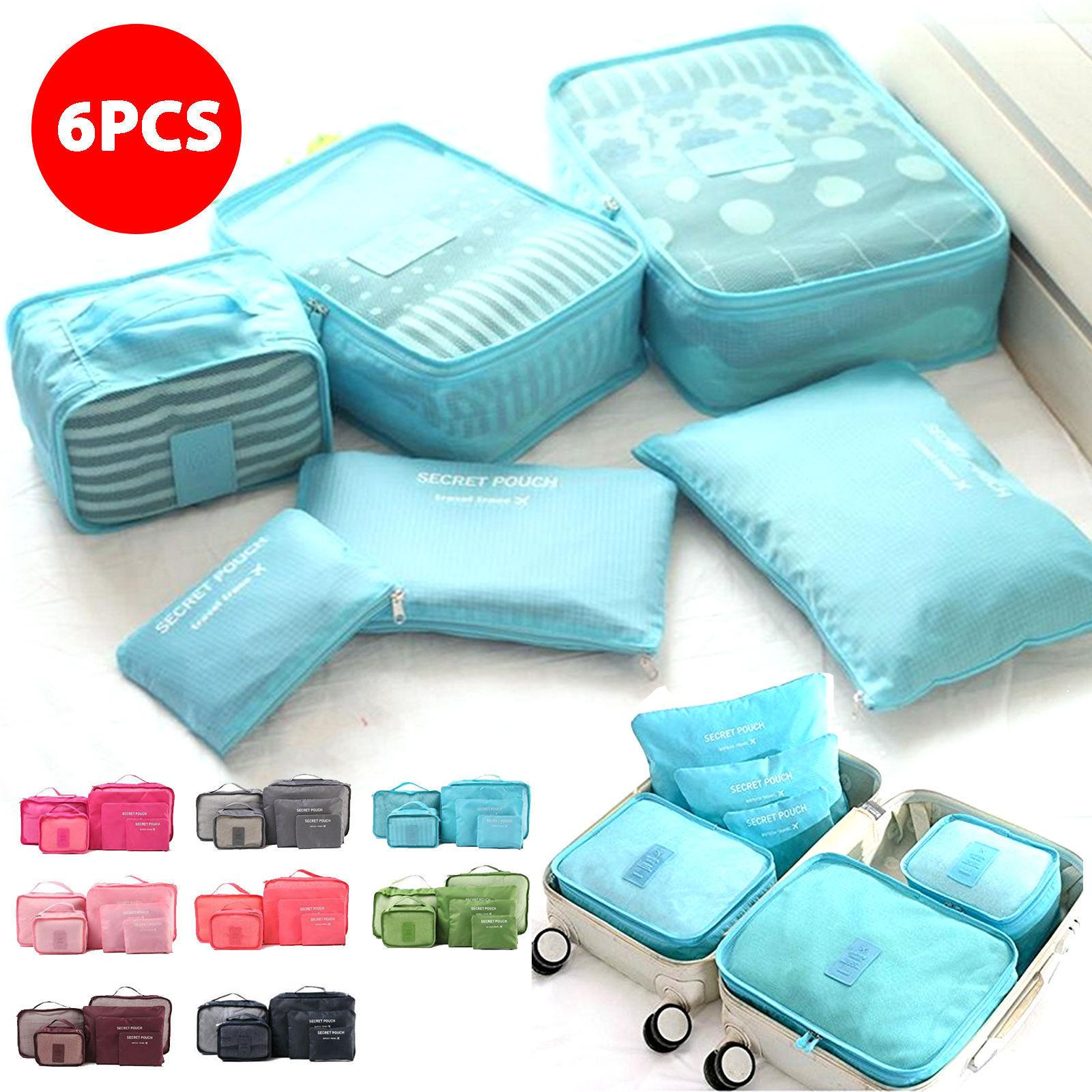 6 Pcs/Set Travel makeup bag Home Luggage Storage Clothes Storage Organizer Portable Cosmetic Bags Bra Underwear Pouch Storage Bags BBA357