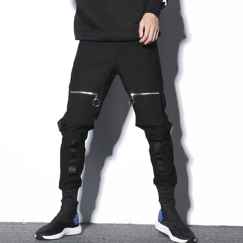 1da9dcf8ec548 Compre Hombres Streetwear Hip Hop Punk Pantalones Harem Joggers Pantalón  Bolsillo Con Cremallera Botas Pantalones Hombre Pantalones De Chándal  Casual Traje ...