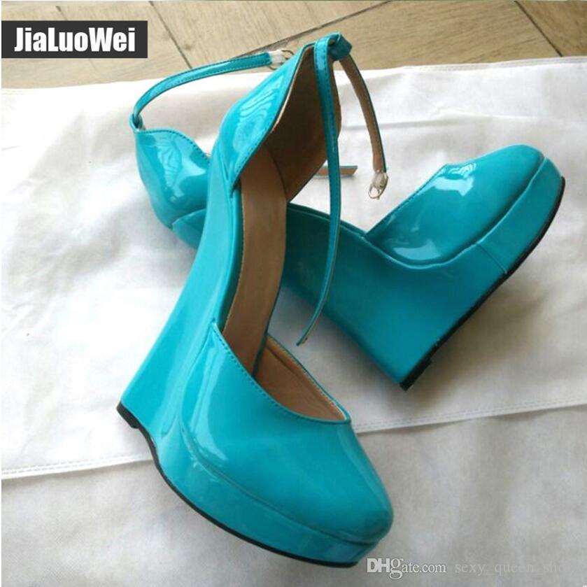 """NEW 7"""" High Heeled Women Platform Heels Fetish Sexy Features Man Wedges shoes Nightclub Party Show Ankle Straps pumps pointed toe Plus size"""