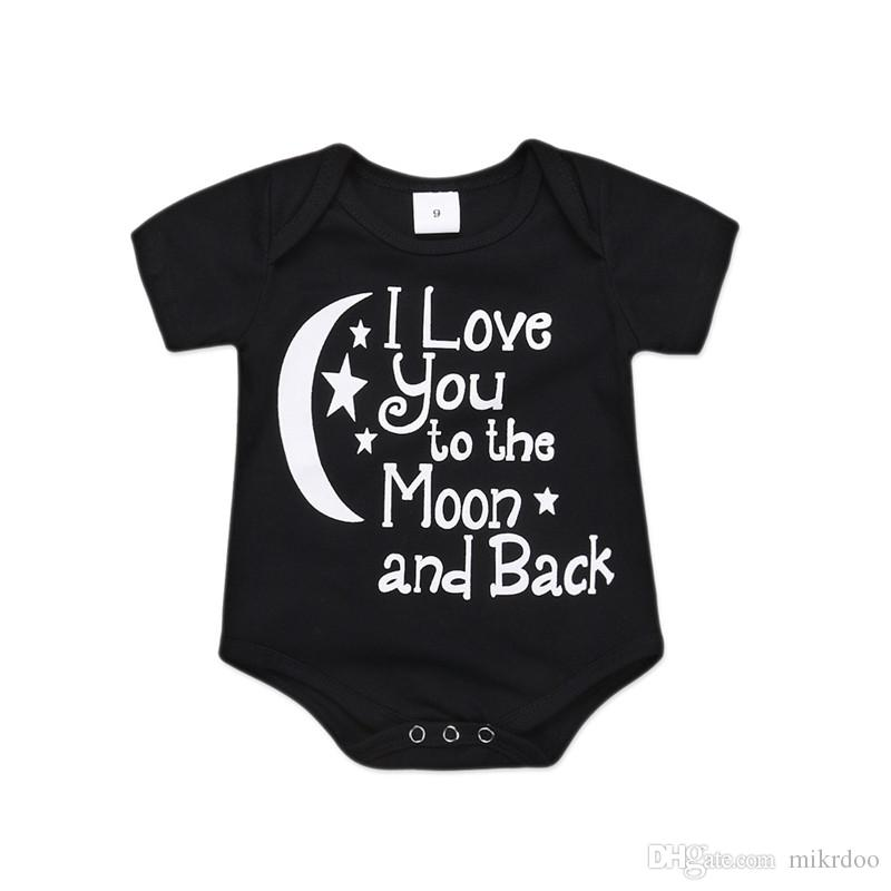 c65e77397c49e Mikrdoo Newborn Infant Baby Boys Girls Moon Star Short Sleeve Romper  Clothes Toddler Casual Cotton Bodysuit Playsuit For 0-18M