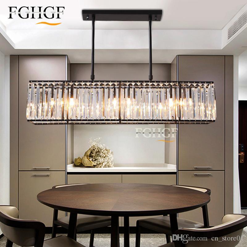 Moderne Kristall Kronleuchter Pendelleuchte Kreative Rechteck Kronleuchter  Leuchte Vintage Style Lüster für Wohnzimmer Küche