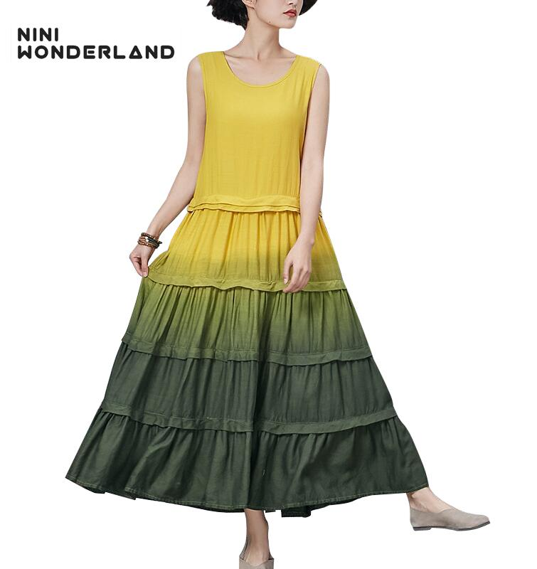 f1327956ce699b 2019 NINI WONDERLAND 2018 Summer Sleeveless Gradient Colors Cotton Linen Maxi  Dresses For Women Femme Long Vintage Dress Clothes From Crutchline