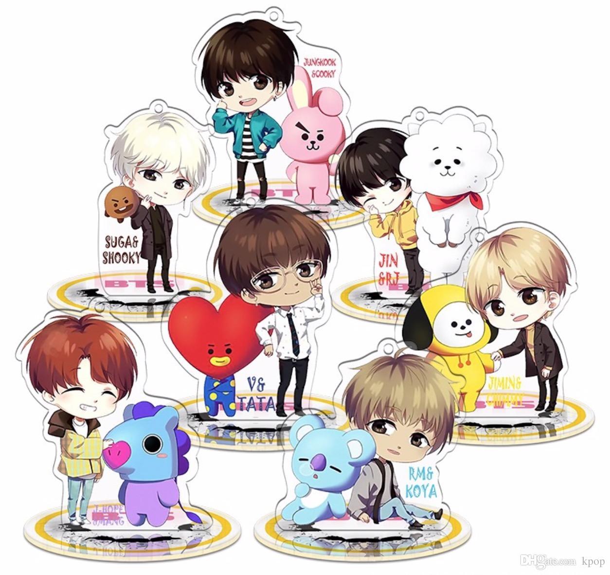 10pcs/lot bts bt21 member cartoon standee/ keychain free shipping