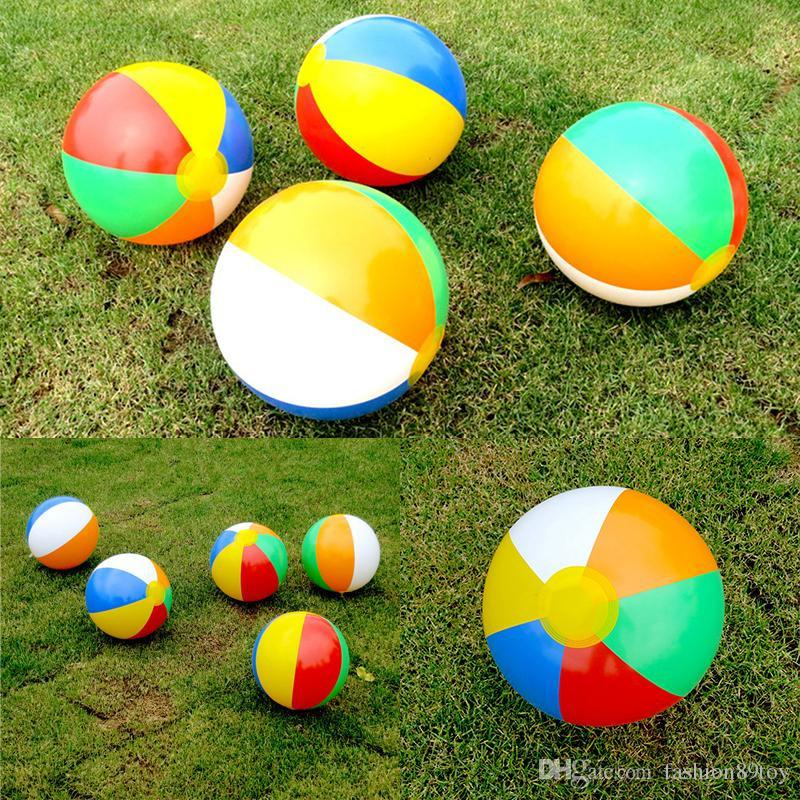 Kids Colorful Rainbow Inflatable Ball Toy Swimming Pool Beach Game Balls Ball Toy Outdoor Sports Toy Game Ball Children Gift Activity & Gear