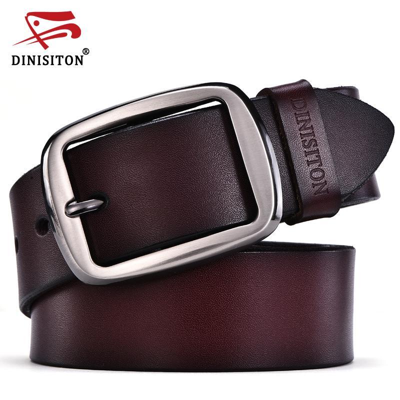 177fe75ac3b Compre Cinturones De Cuero Genuino De Cuero De Vaca Para Hombres Cinturones  De Marca DINISITON Correa Pin Hebilla Masculina Fancy Vintage Jeans  Ceinture A ...
