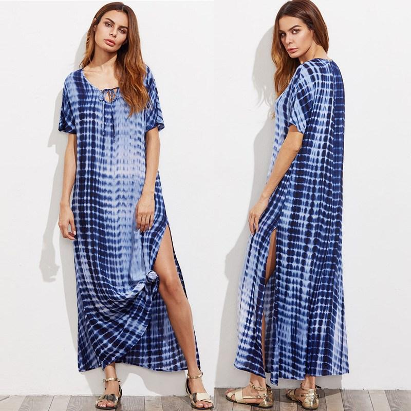 2019 2018 Women Loose Vestidos Plus Size Sexy Summer Vintage Print Side  Split Long Shift Dresses For Ladies Short Sleeve Maxi Dress From Yakima e9415aa4a6ed