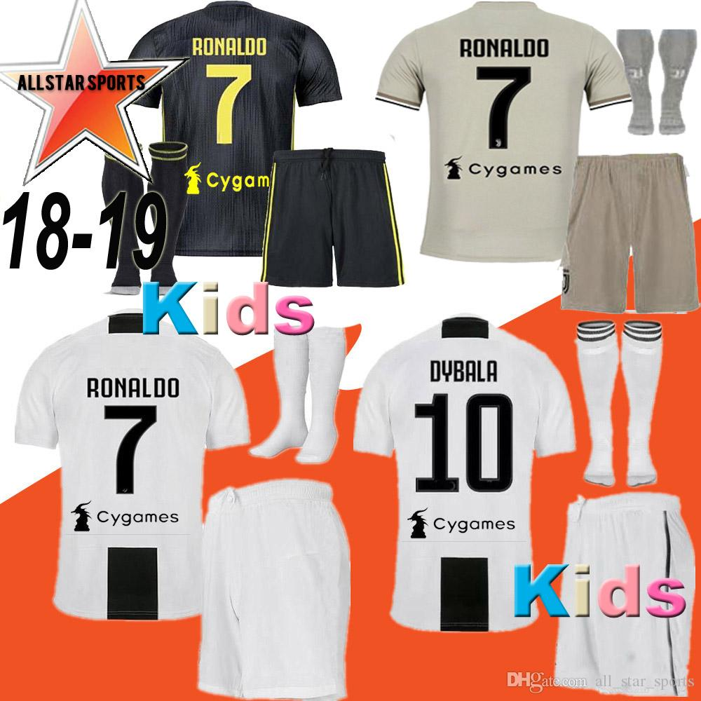 size 40 10e37 dfe35 18 19 RONALDO JUVENTUS DYBALA HIGUAIN kids kit soccer jersey 2018-19 juve  MARCHISIO MANDZUKIC CHIELLINI BUFFON child Football Shirt uniform