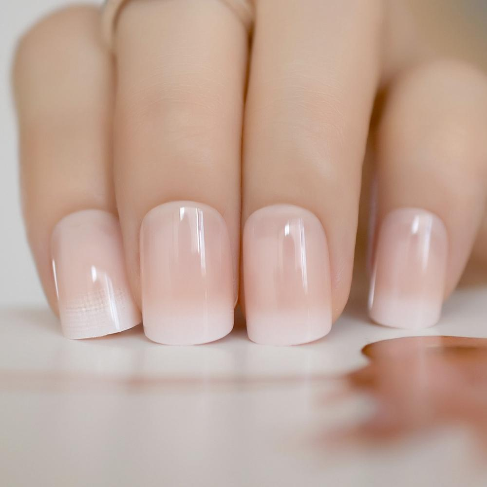 Beige Gradient French Manicure Tips Gorgeous And Classy Natural Fake