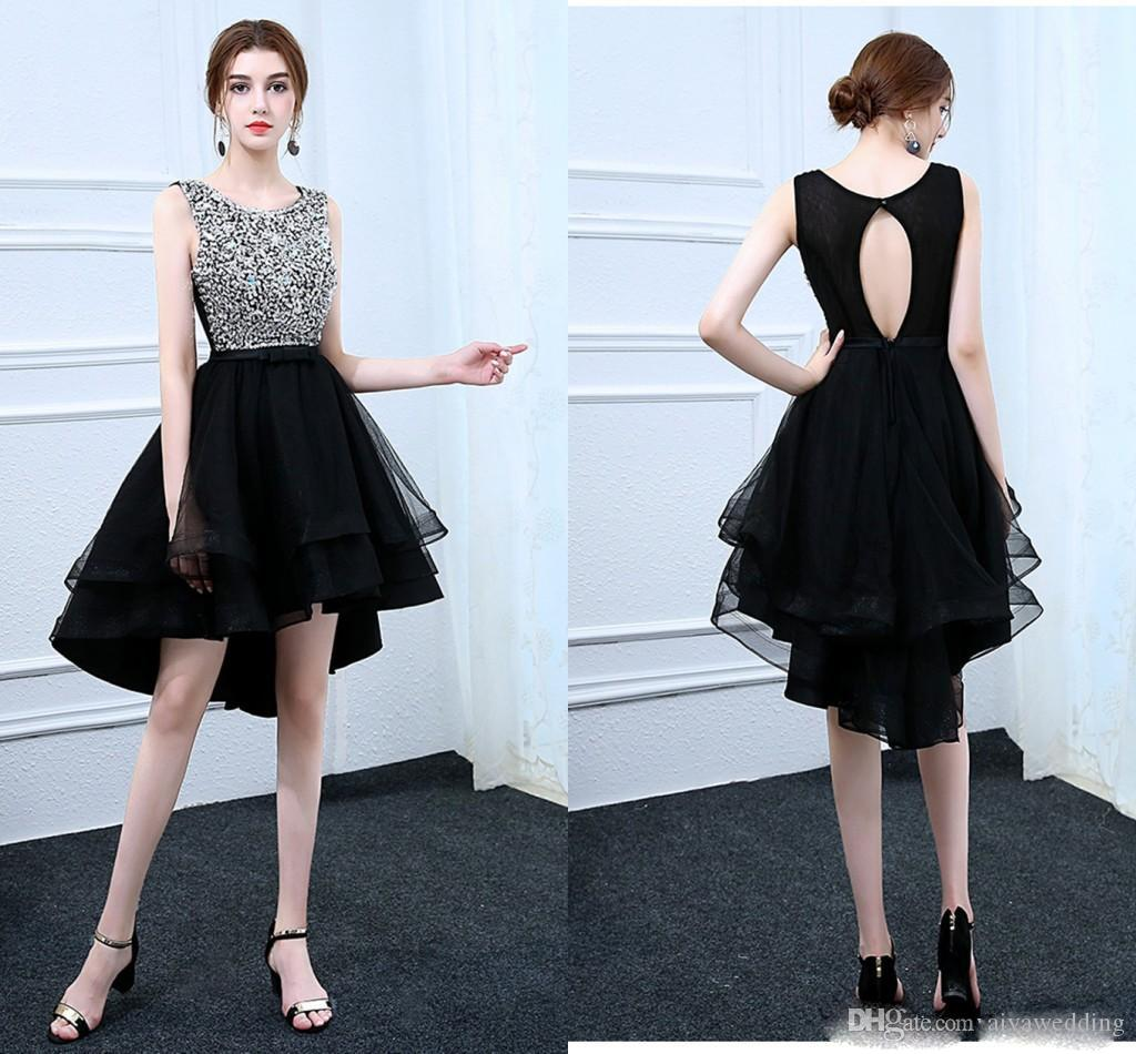 864cedfab26 High Low Short Prom Dresses 2019 Scoop Neck Sleeveless A Line Crystal  Beaded Cocktail Formal Evening Gowns Homecoming Dress Wanelo Prom Dresses  White Prom ...
