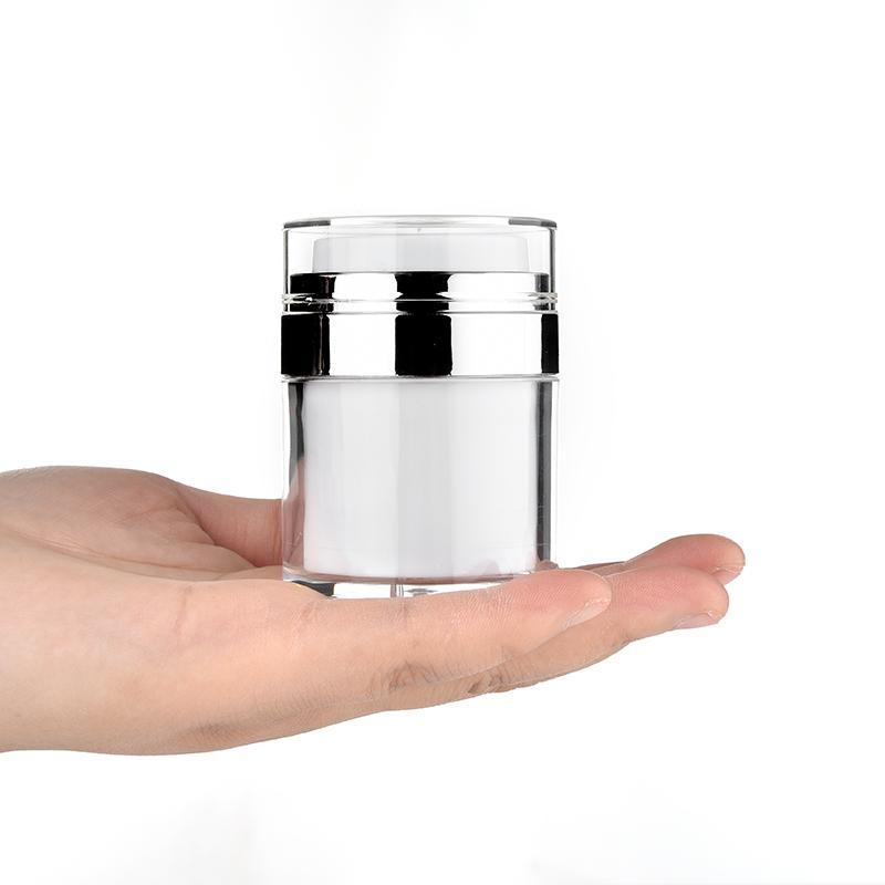 15 30 50g Inci Beyaz Akrilik Havasız Kavanoz Krem Kavanoz Gümüş Yaka ile 15 30 50 ml Kozmetik Vakum Losyonu Kavanoz Pompa Şişesi
