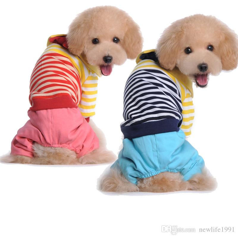 Winter Striped Style Clothing For Dog Pet Clothes Patchwork Spring Casual Campus Type T-shirt Puppy Lovely Clothes Drop Ship