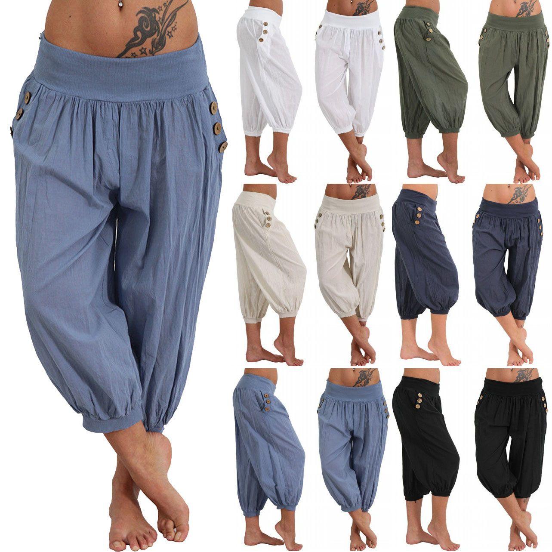 2019 Women Aladdin Harem Pants Elastic Waist Plus Size Calf Length ...