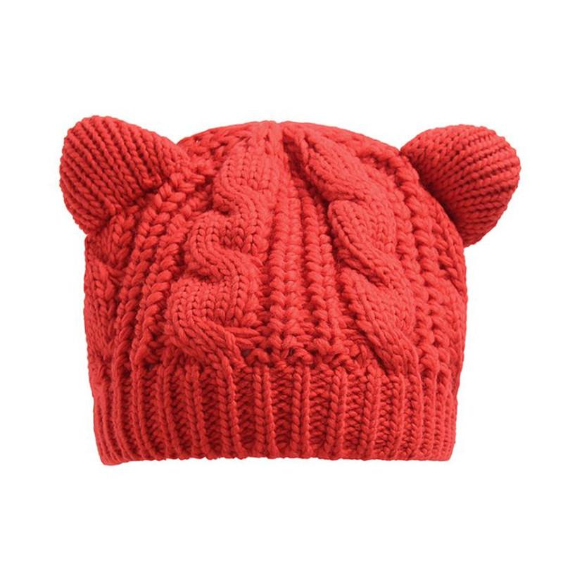 Cute unisex Trendy Hats Winter Knitted Woolen Beanie Skull Caps cat ears Leisure Beanies Outdoor Hats ouc2149
