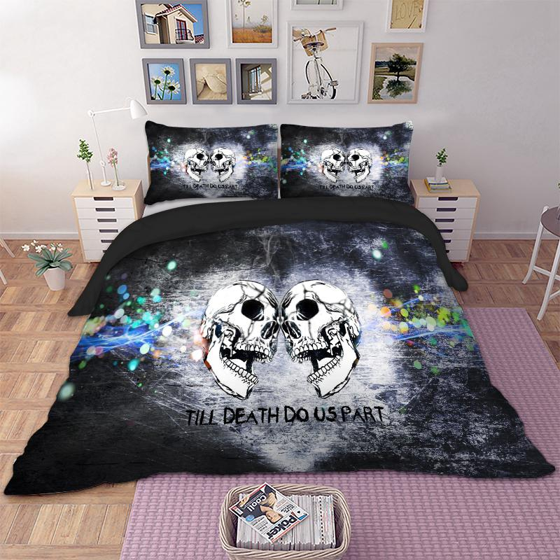 Skull Bedding Set Twin Full Queen King Duvet Cover Quilt Cover Bed Pillow Cases Home Textiles Beddingclothes 3PCS Cool New