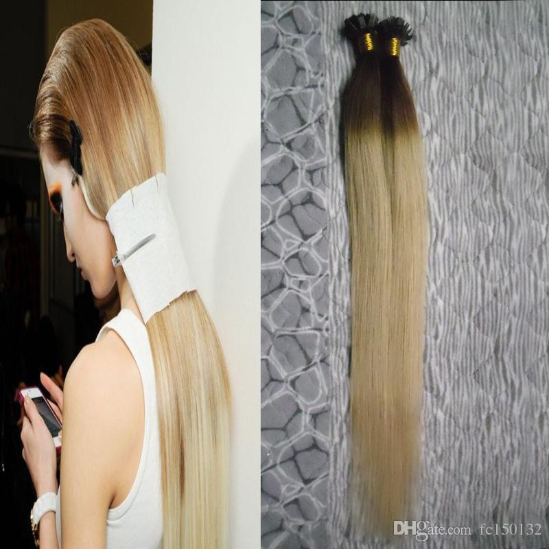 T2613 Blonde Virgin Hair Straight Ombre Keratin Human Fusion Hair