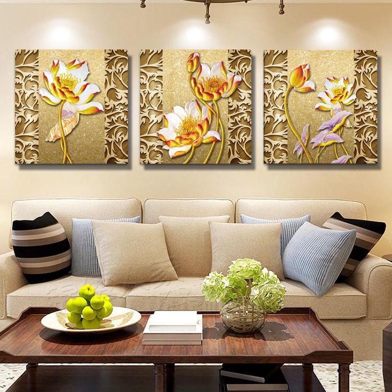 Großhandel Painted Flowers Leinwand Wandbilder Kunst Ölbilder ...