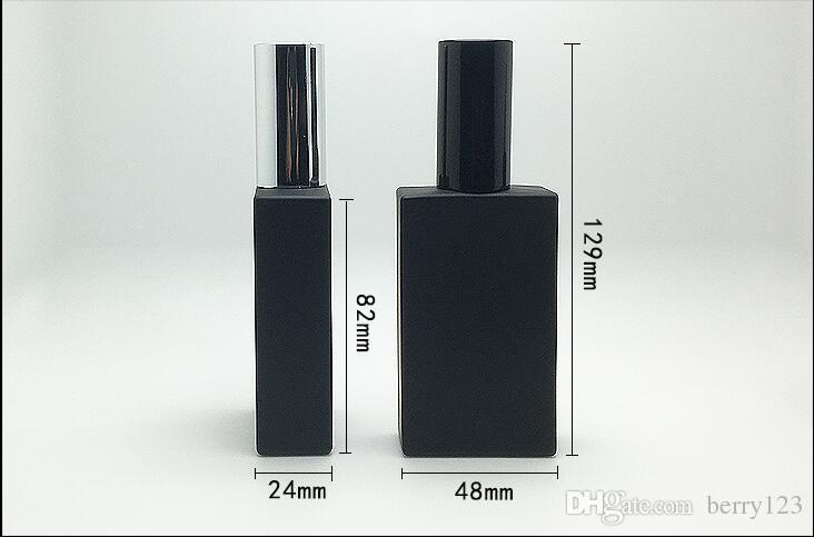 Sambette عالية الجودة 50ML مربع زجاج زجاجة عطر 50ML أسود زجاج بخاخ زجاجة عطر التعبئة والتغليف زجاجة إعادة الملء