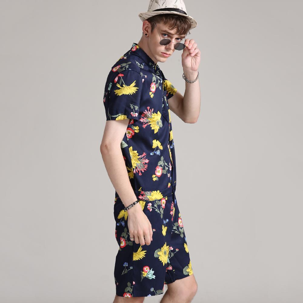 e67e096c0e0b 2019 2018 Flowers Men Hip Hop Short Sleeve Romper Suit Jumpsuit Playsuit  Overalls One Piece From Jingju