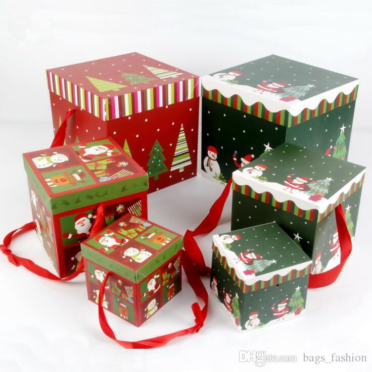 christmas gift box candy box for foldable cardboard children kids xmas tree ornament christmas decoration party festive supplies storage box jewelry box