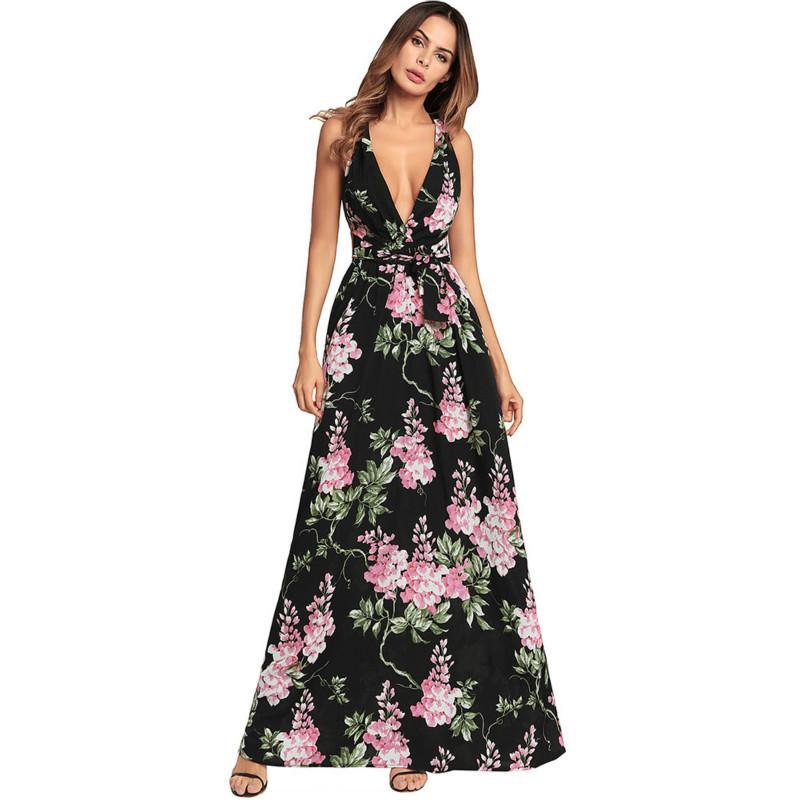 0601d8edcf 2019 Women Long Beach Dresses Sexy Strap Cocktail Dresses Sleeveless  Bandage Cami Floral Criss Cross Maxi Dress From Sinofashion, $43.92 |  DHgate.Com