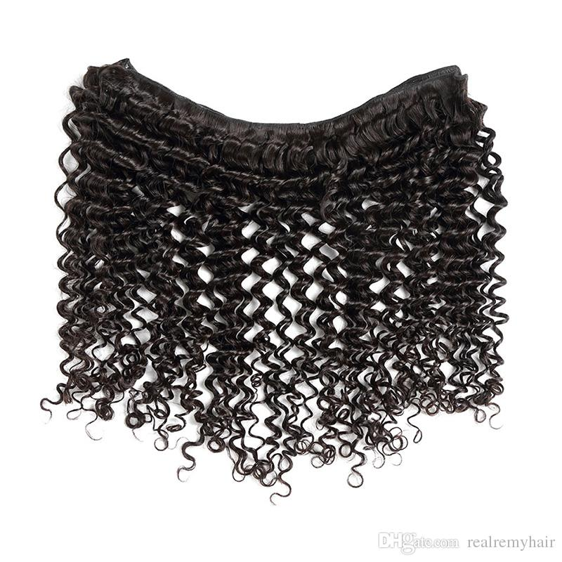Brazilian Deep Wave Virgin Hair 13x4 Lace Frontal with Bundles 100% Unprocessed Brazilian Human Hair Weave Extensions Deals Natural Color