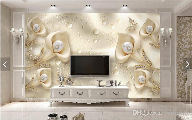3D Kabartmalı Çiçek Takı İnciler Fotoğraf Kağıdı Duvar Oturma Odası Kanepe TV Arka Plan Duvar Dekor papier peint 3d Özel Boyut
