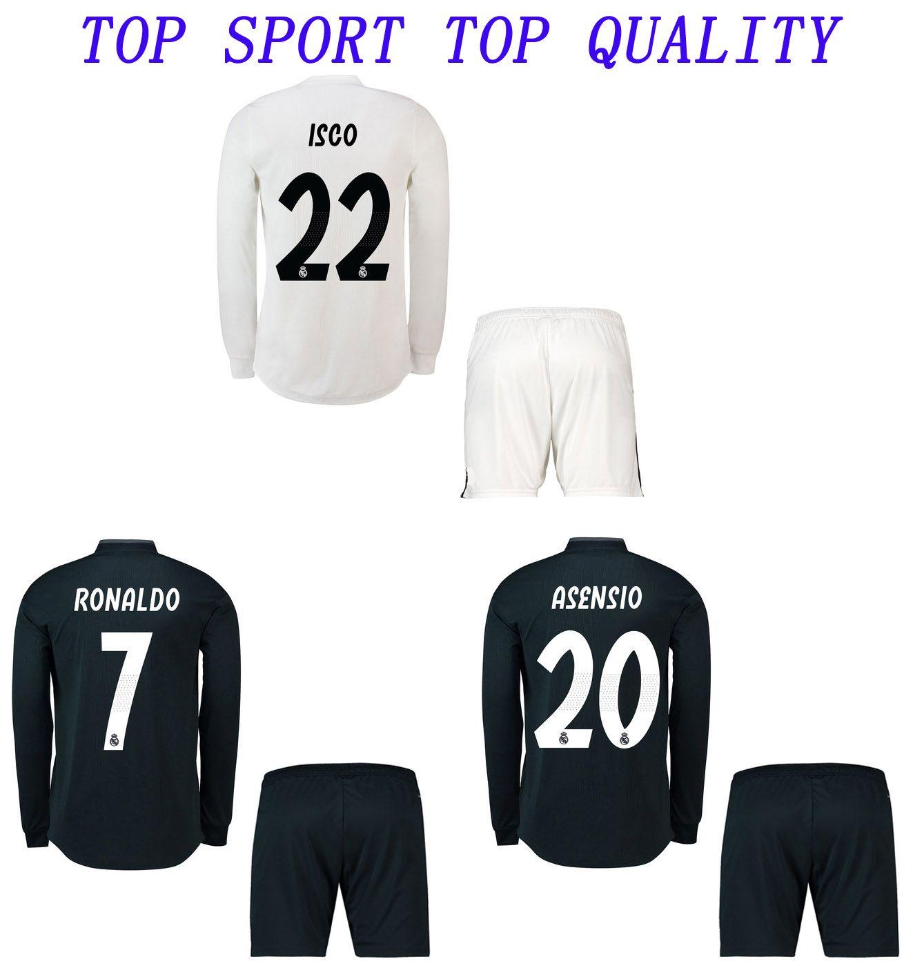 1e4cf37778e4d Compre Real Madrid Camisetas De Fútbol De Manga Larga Adultos Uniformes De  Fútbol Hombres De Calidad Tailandesa Kits De Deportes En Casa Fuera  Terceros ...