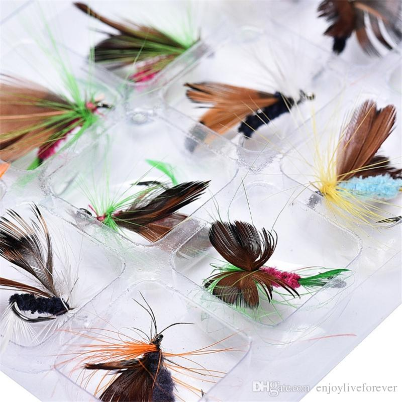 20pcs Lures Fly fishing Hooks Butterfly Insects Style Salmon Flies Trout Single Dry Fly Fishing Lure Fishing Tackle