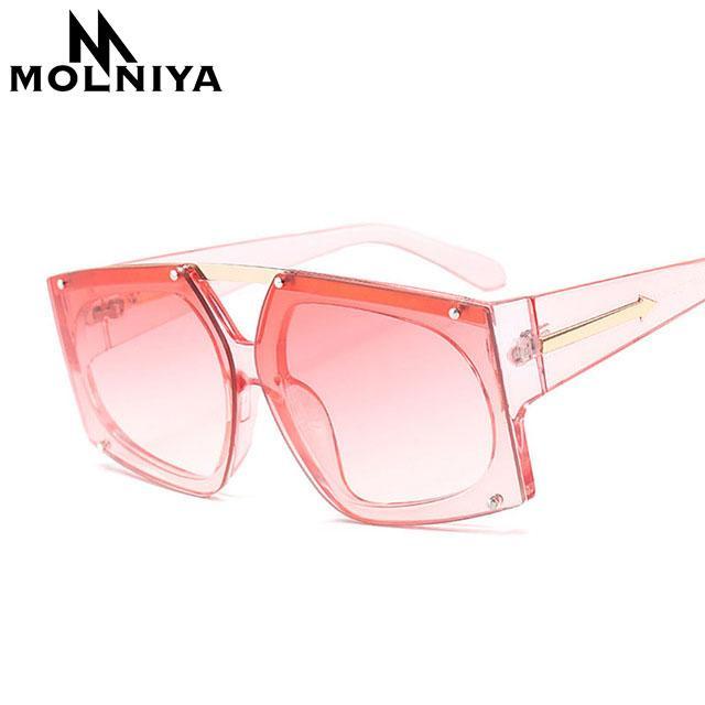 630f1f120aa Molniya Oversized Square Sunglasses Women Fashion Pink Lens Sun ...