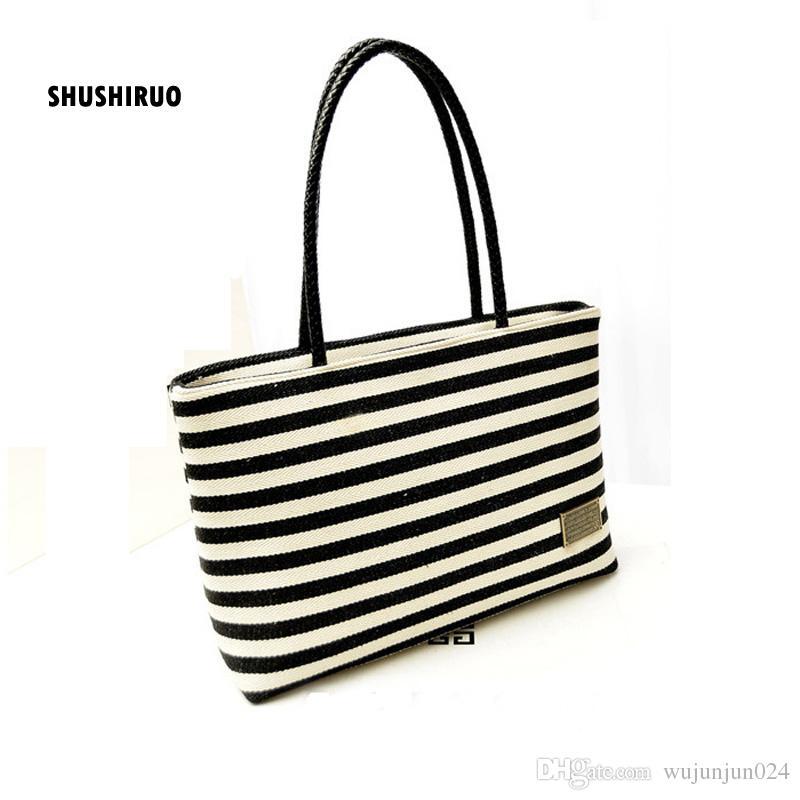 SHUSHIRUO Women Black White Striped Handbags Canvas Zipper Vintage All  Match Women S Shoulder Bag Bolsa Storage Shopping Totes Reusable Shopping  Bags ... 252c52c4d025f