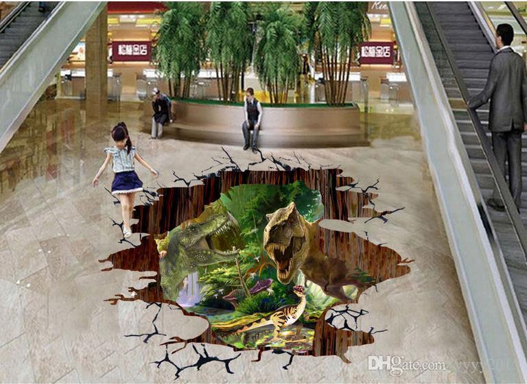 3d wallpaper murals Dinosaur forest three-dimensional outdoor floor paste cartoon vinyl flooring bathroom