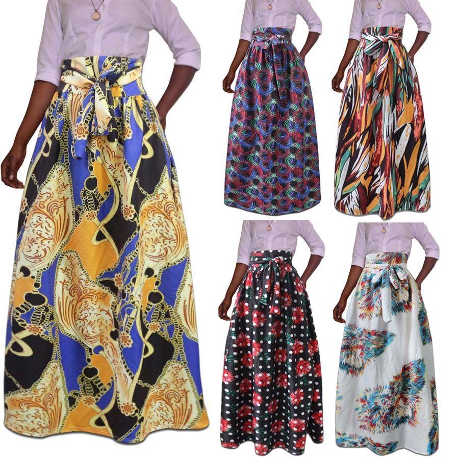 0054f8f0ab 2019 M 5XL Women African Ankara Skirt Dashiki Hippe Print High Waist  Pleated Beach Party Cocktail Boho Maxi Dress From Dress_ch, $13.29 |  DHgate.Com